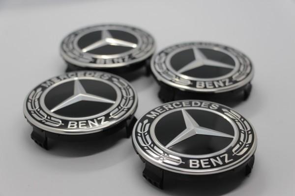 Radnabenabdeckungen Mercedes-Benz AMG schwarz, 4 Stück